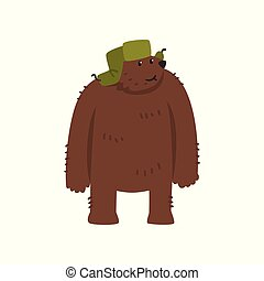Humanized male bear character in green earflap standing cartoon vector Illustration on a white background