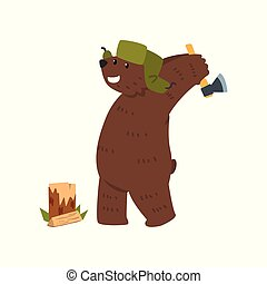 Humanized male bear character with ax chopping wood cartoon vector Illustration on a white background