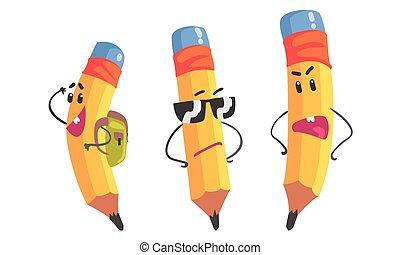 humanized, pencils., ensemble, jaune, vecteur, illustration