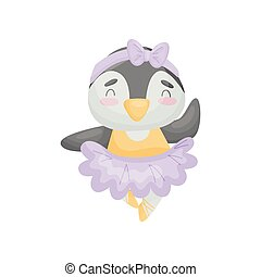 Humanized penguin in a dress of a ballerina. Vector illustration on white background.
