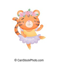 Humanized tiger in a ballerina dress. Vector illustration on white background.
