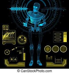humanoïde, robot, dans, a, interrogation, pose, à, hud, éléments