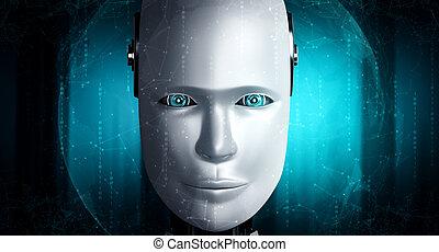humanoïde, robot, haut, figure, graphique, concept, pensée, ai, fin, cerveau