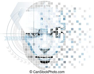 humanoïde, style, technologie pointe, figure, typon
