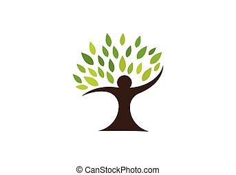 humano, árbol, símbolo, icono, logotipo, diseño