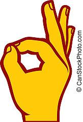 humano, aprobar, señal de mano