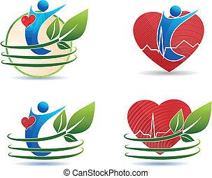 humano, asistencia médica, símbolos, corazón sano, concepto