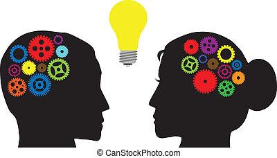 humano, cabezas, con, colorido, engranajes, ilustración