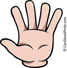 humano, caricatura, mano, actuación, cinco, dedos