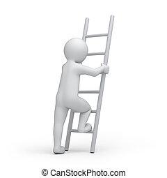 humano, con, un, escalera