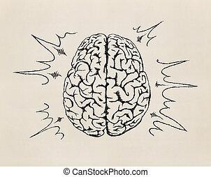 humano, concepto, brain., sketch., trabajando