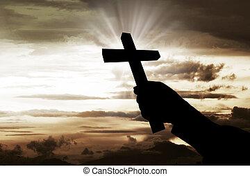 humano, cristiano, cruz, tenencia, mano