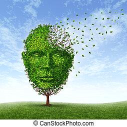 humano, demencia, problemas