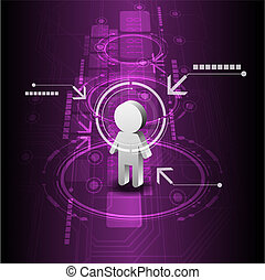 humano, digital, futuro, tecnología, plano de fondo