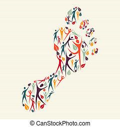 humano, diversidad, concepto, impresión pie