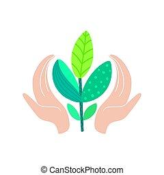 humano, eco, resumen, manos, amistoso, ambiente, diseño, plant., tenencia, nature., mundo, excepto, concept., día