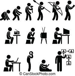 humano, evolución, pictogram