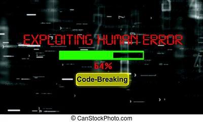 humano, exploiting, barra de progresión, error, rotura, código