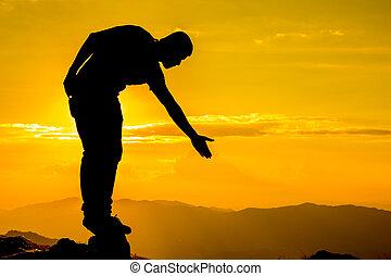 humano, gived, mano, para, tirón, equipo, a, pico, de,...