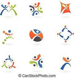 humano, iconos, y, logotipos, 2