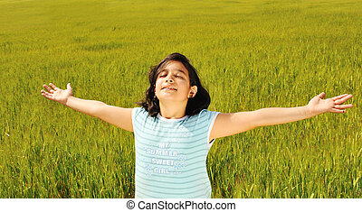 humano, libertad, felicidad, en, naturaleza, listo, para, futuro
