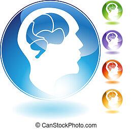 humano, mente, cristal, icono