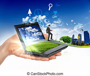 humano, naturaleza, mano, cuaderno, tenencia, paisaje