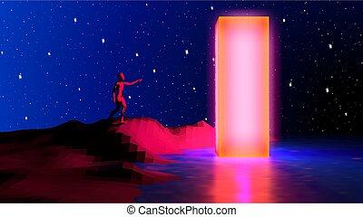 humano, obelisk., alcanzar, colores, retrowave, plano de ...