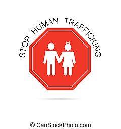 humano, parada, tráfico, ilustración, señal