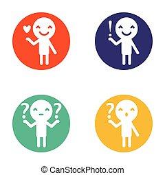 humano, tenencia, pregunta, exclamación, amor, señal, en, plano, diseño, estilo