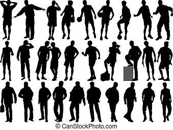 humano, vector, figuras