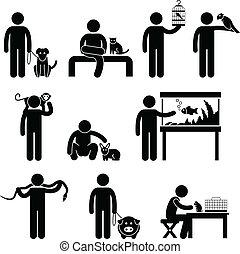 humano, y, mascotas, pictogram
