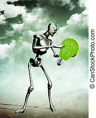 Abstract grunge illustration of metal humanoid holding grass light bulb.