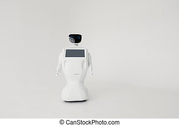 Humanoid autonomous robot on white background. Cybernetic system today. Modern Robotic Technologies. Humanoid autonomous robot.