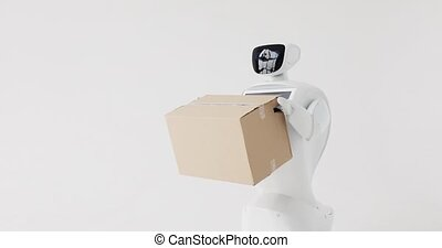Humanoid autonomous robot with cardboard box in hand....