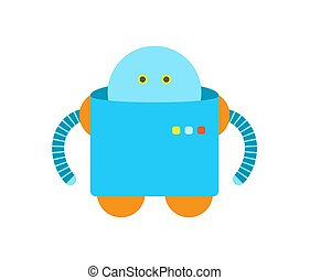 Humanoid of Blue Color Closeup Vector Illustration