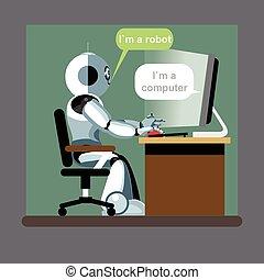 humanoid, robô, prata, sentando