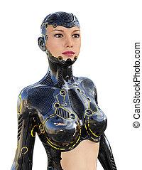 humanoid, robot, elszigetelt, white, háttér