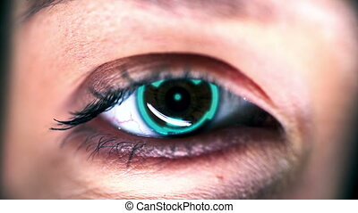 Humanoid Robot - Extreme close up of cybernetic organism eye...