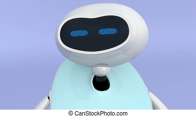 Humanoid robot with touch screen isolated on light blue background