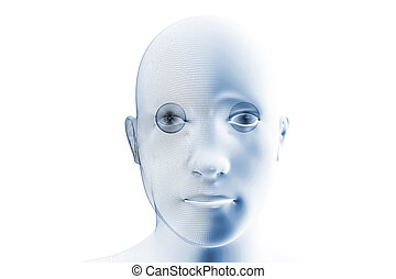 A robotic humanoid face with partial wireframe construction