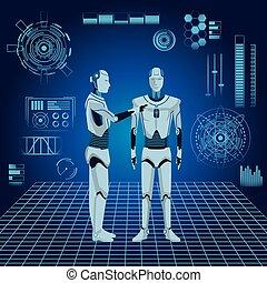 humanoid robots avatar cartoon character futuristic digital...