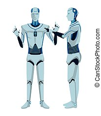 humanoid robots avatar cartoon character vector illustration...