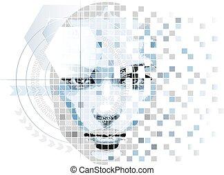 humanoid, stile, alta tecnologia, faccia, grafica