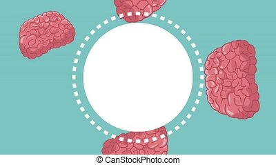 Humans brain round frame HD animation - Humans brain blank...
