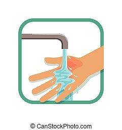 Human's burned hand under cool running water. Treatment for first degree burns. Injury concept. Flat vector isolated on white background. Design element for poster, flyer or educational book.