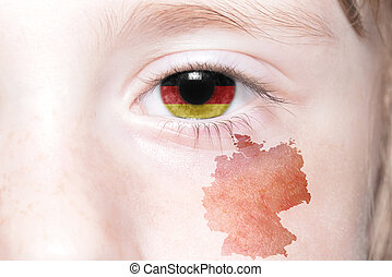 human's eye with national flag and map of germany.