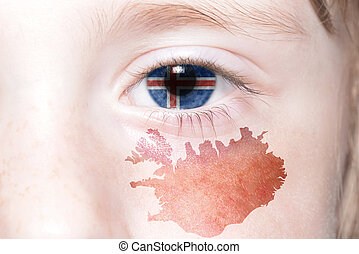 human's eye with national flag and map of iceland.