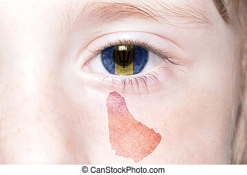 human's face with national flag and map of barbados.