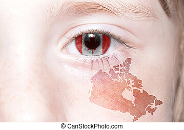 human's face with national flag and map of canada.